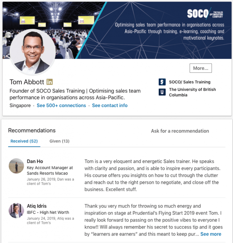 Linkedin Profile for Sales Professionals Recommendations